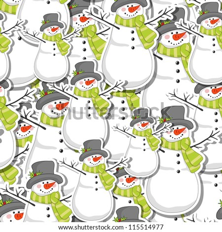 Seamless Christmas pattern. New year backgrounds with snowman - stock vector