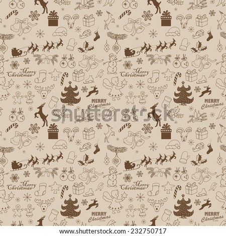 Seamless Christmas pattern.  Vector hand drawing sketch illustration - stock vector