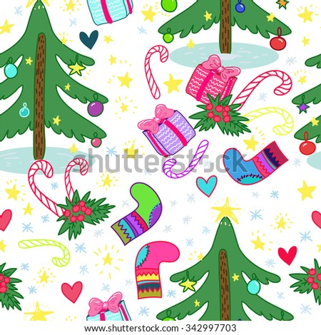 Seamless Christmas pattern with Christmas tree, gifts, candy, snowflake, stars and hearts - stock vector