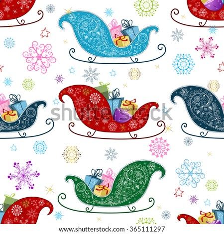 Seamless Christmas pattern with colorful snowflakes and sledges, vector - stock vector