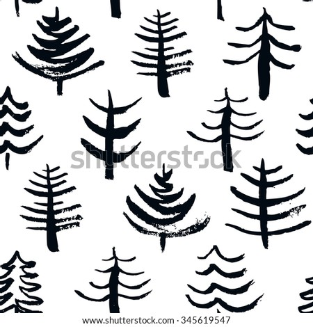 Seamless Christmas pattern with hand drawn elements. Cute Christmas trees. Winter background. Vector illustration - stock vector