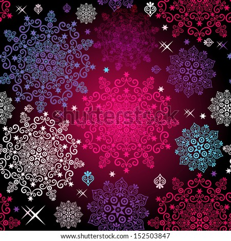Seamless christmas pattern with lacy vivid snowflakes and stars (vector eps10) - stock vector