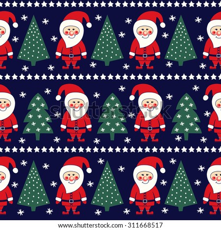 Seamless Christmas pattern with Santa Claus, stars and xmas tree.  Xmas background. - stock vector