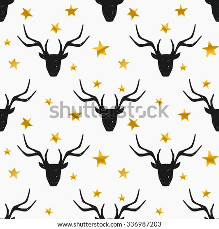 Seamless Christmas pattern with stylized reindeer heads in black with gold stars on white background. - stock vector