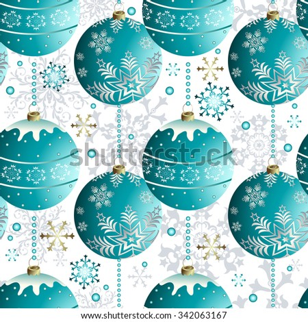 Seamless christmas white pattern with sparkling blue balls and snowflakes (vector eps 10) - stock vector