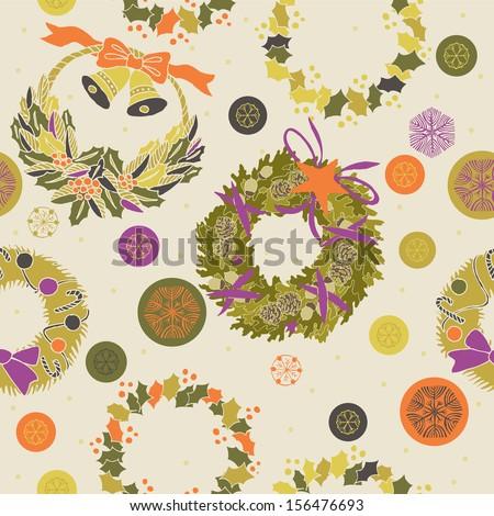 Seamless Christmas wreaths design - stock vector