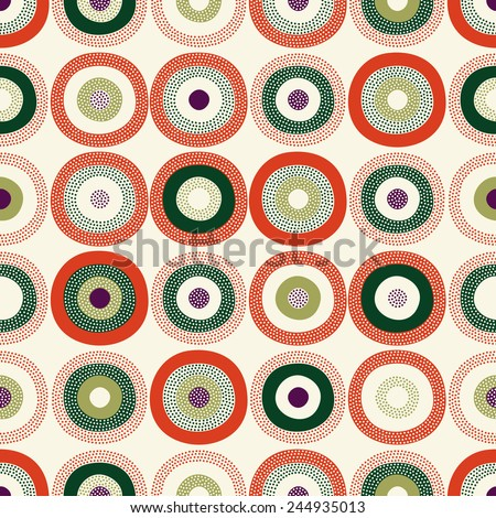 seamless circle doodle funny background - stock vector