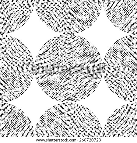 Seamless Circle Pattern. Vector Black and White Background - stock vector