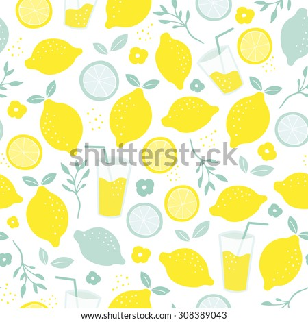 Seamless citrus fruit lemon juice mocktail lemonade illustration backgrounf pattern isolated on white in vector - stock vector