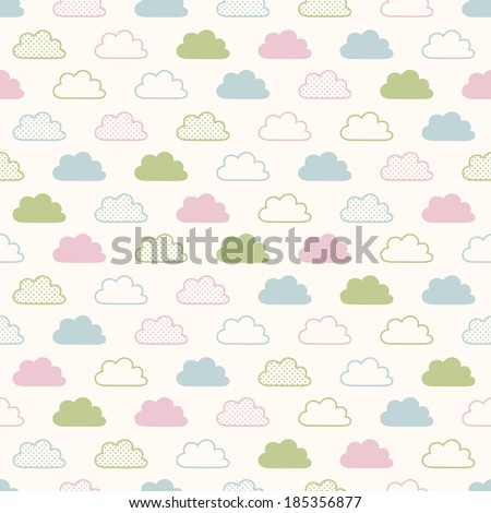 seamless clouds background pattern - stock vector