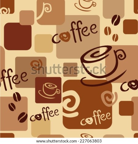 Seamless coffee background with caps, text, coffee beans - stock vector