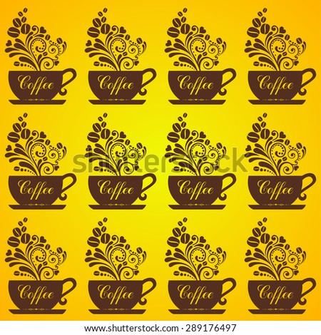 Seamless coffee background with caps, text, coffee beans.  Vector Illustration - stock vector