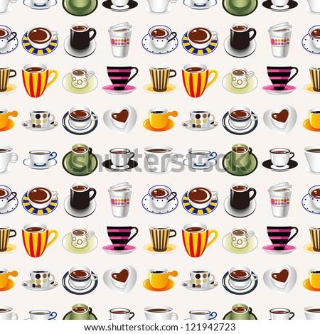 seamless coffee pattern,cartoon vector illustration - stock vector