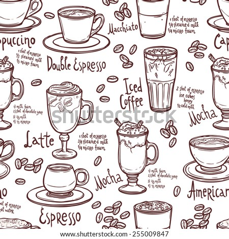 seamless coffee pattern with cups of coffee and typography - stock vector