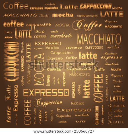Seamless coffee pattern with gold text. Vector eps 10 illustration. - stock vector