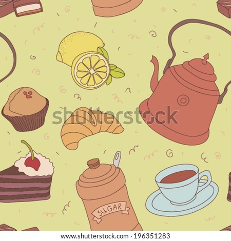Seamless coffee time vector pattern with sweets, cup of coffee, piece of cake and coffee beans. - stock vector