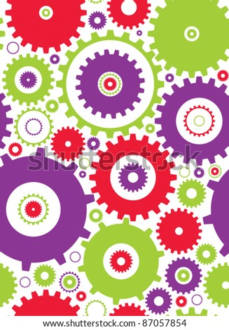seamless cogs repeat pettern - colours 1 - stock vector