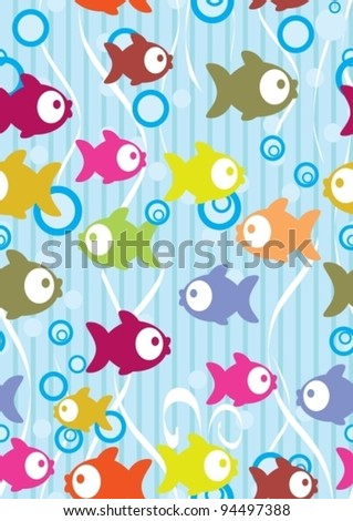 Seamless color background with cute cartoon fish, vector illustration - stock vector