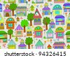 Seamless color background with cute houses and flowers, vector - stock vector
