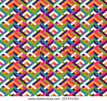 Seamless color blocks zigzag pattern. Vector geometrical bright background.  - stock vector