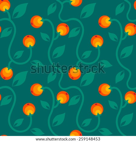 Seamless color floral pattern with berry - stock vector