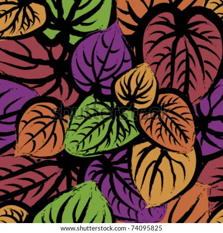 seamless color leaves pattern, vector - stock vector