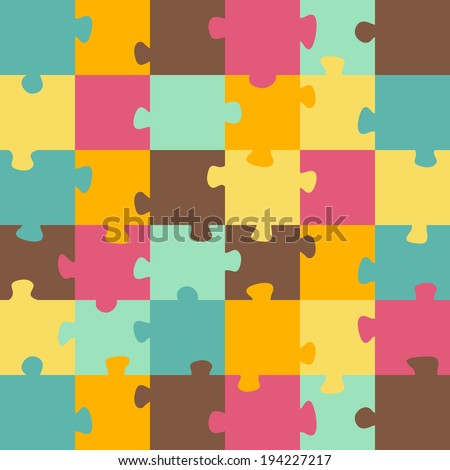 Seamless color puzzles background.  Jigsaw puzzle game - stock vector