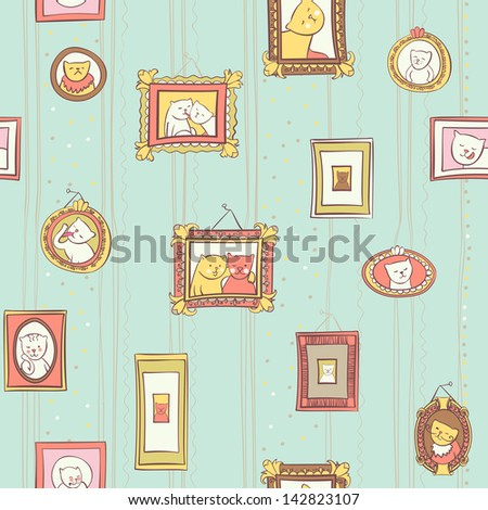 seamless colored cats portraits in frames pattern - stock vector