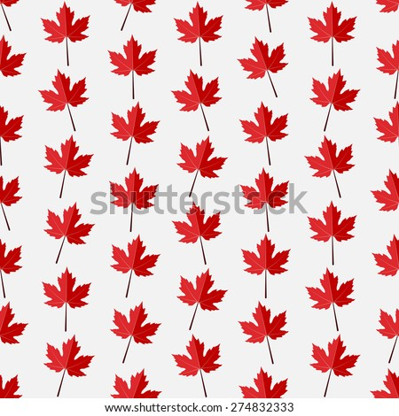 Seamless colorful background made of red maple leaves in flat design - stock vector