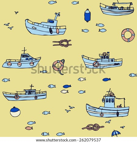 Seamless colorful boat pattern in vector - stock vector