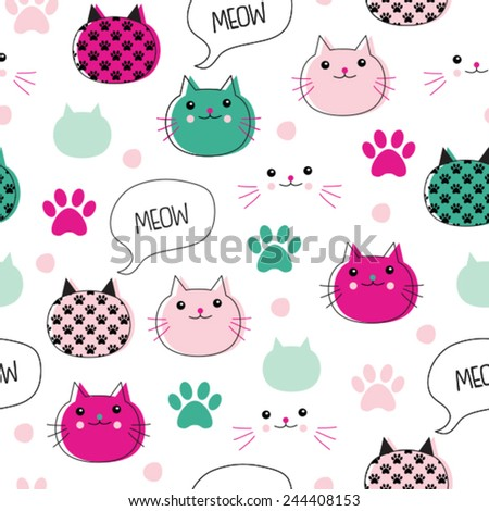 seamless colorful cat pattern vector illustration - stock vector