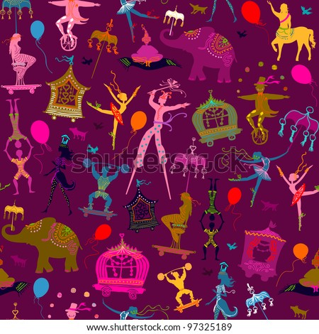 seamless - colorful circus with magician, elephant, dancer, acrobat and various characters - stock vector