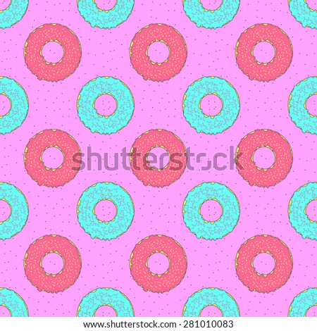 Seamless colorful donuts pattern - stock vector