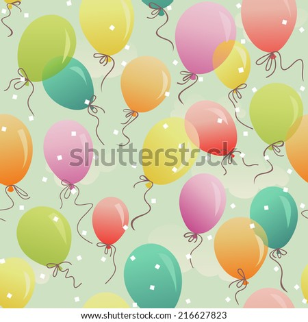 seamless - colorful festive balloons in the sky - stock vector