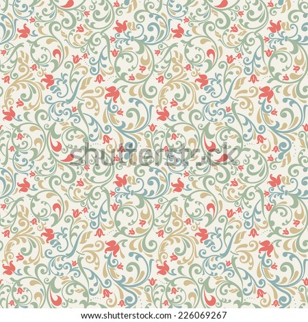 seamless colorful floral pattern - stock vector