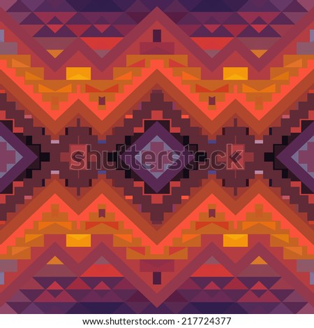 Seamless colorful geometric ethnic pattern - stock vector