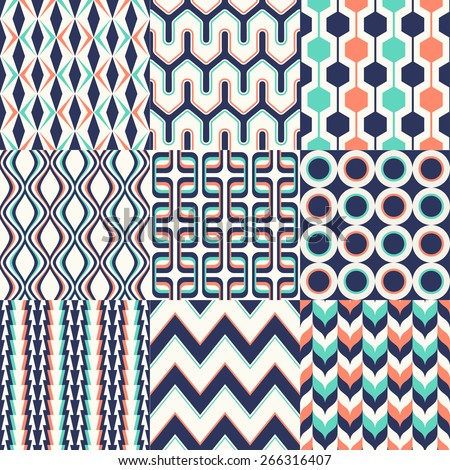 seamless colorful geometric pattern set - stock vector