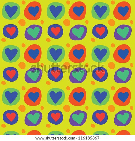 Seamless colorful heart vector pattern / Spring mood - stock vector