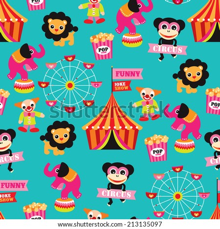 Seamless colorful kids circus animals fun fair illustration background pattern in vector - stock vector
