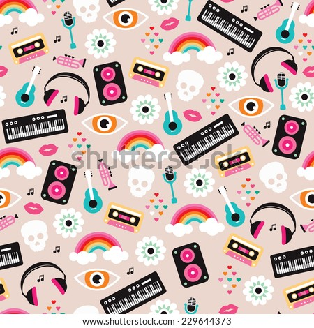 Seamless colorful music love and skull retro illustration background pattern in vector - stock vector