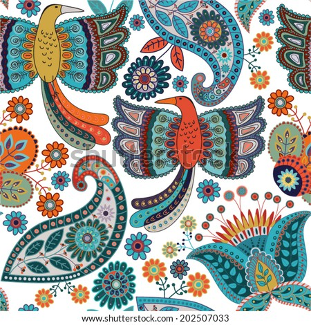 Seamless colorful ornamental pattern. Ethnic ornament background. Vector colorful pattern with birds and flowers - stock vector