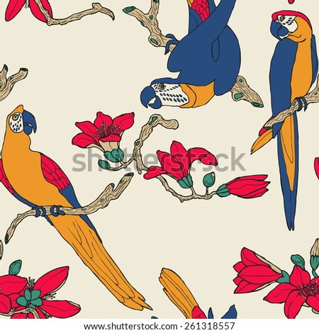 Seamless colorful parrot and flower pattern in vector - stock vector