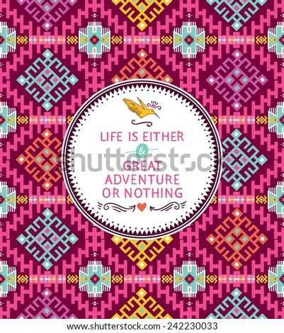 Seamless colorful pattern in tribal style - stock vector