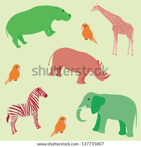 Seamless colorful pattern with african animals - stock vector