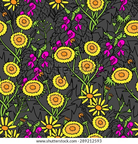 Seamless colorful pattern with dandelions, daisies and lilac flowers - stock vector