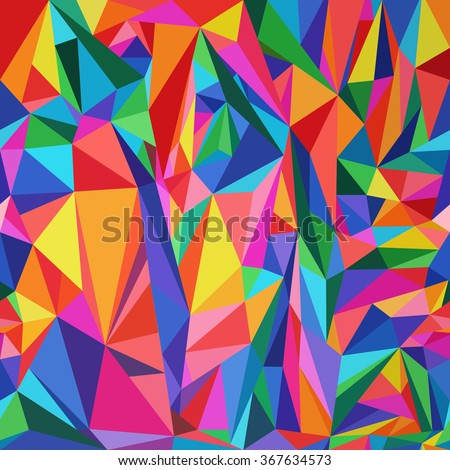 Seamless colorful polygonal pattern.Bright  low poly background.Polygonal art. - stock vector