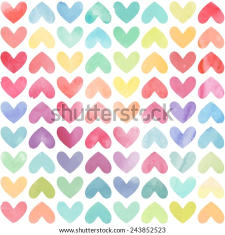 Seamless colorful watercolor painted hearts pattern. Valentine's day background. Vector illustration - stock vector