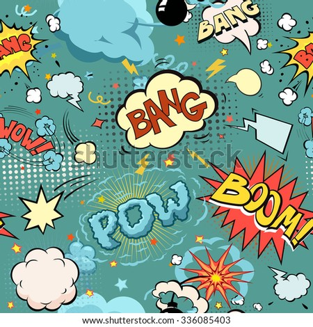 Seamless Comic Book Explosion, Bombs And Blast Set.  bubbles for speech, different sounds and arrows vector - stock vector