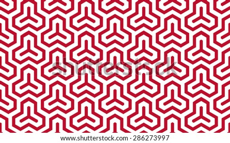 Seamless corporate red and white isometric hexagonal symmetry medieval pattern vector - stock vector