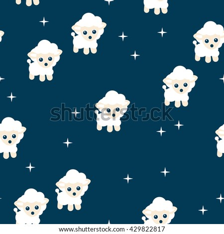 Seamless counting sheep spring night kids sweet dreams theme illustration background pattern in vector - stock vector
